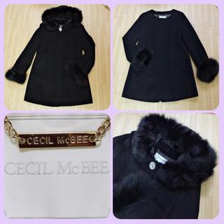 セシルマクビー(CECIL McBEE)のフォックスファーmany wayアンゴラ混ウールコート黒(ロングコート)