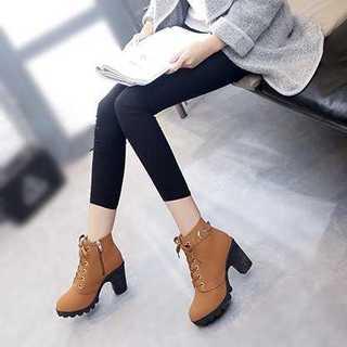 厚底ブーツ レザー ヒール レースアップ 秋 冬靴(ブーツ)