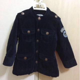ミキハウス(mikihouse)の男の子100ミキハウスダブルビーの紺の中綿入りコート 美品(ジャケット/上着)