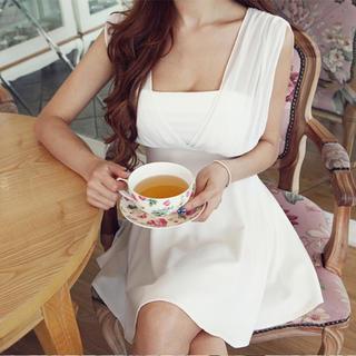 白 フレアAライン レース ワンピ ドレス キャバドレス 結婚式 キャバ嬢 ☆(ミニドレス)
