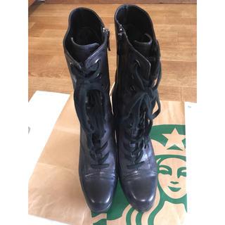 イング(ing)のing イング レースアップ レザー ブーツ 24cm 黒(ブーツ)