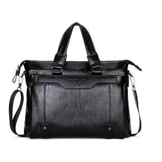新品 メンズ POLO VIDENG ビジネスバッグ 高級PUレザー ブラック(ビジネスバッグ)