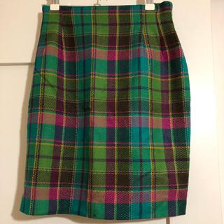 古着 レトロ チェックウールスカート (ひざ丈スカート)