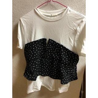 ジーユー(GU)のGU ドットビスチェ コンビTシャツ(Tシャツ(半袖/袖なし))