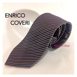 エンリココベリ(ENRICO COVERI)の【美品】ENRICO COVERI シルク ネクタイ ネイビー グレー イタリア(ネクタイ)