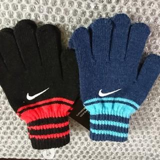 ナイキ(NIKE)のナイキ 手袋(グリップ付きグローブ)ブルー&レッド2点セット/Jrフリーサイズ(手袋)