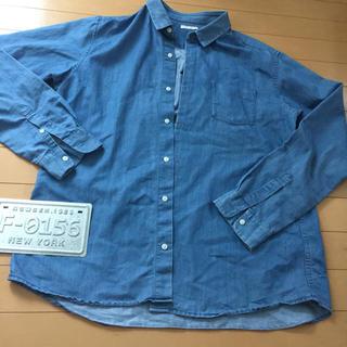 ジーユー(GU)のメンズ シンプルシルエット ダンガリーシャツ XL(シャツ)