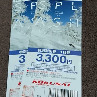 札幌国際スキー場 特別割引券2枚セット(スキー場)