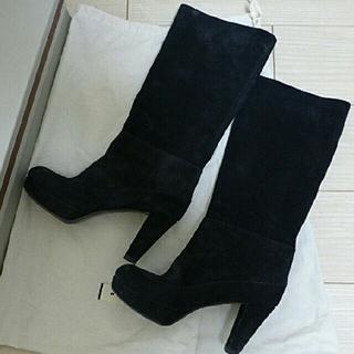 マルニ(Marni)のMARNIマルニ スエードブーツ38黒ブラック  (ブーツ)