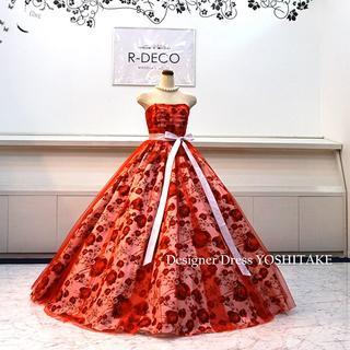 ウエディングドレス(パニエ無料サービス) 赤チュール&赤花柄 披露宴/二次会(ウェディングドレス)
