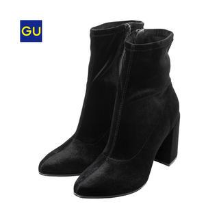 ジーユー(GU)のGU  ベロアストレッチブーツ  ブラック  美品(ブーツ)