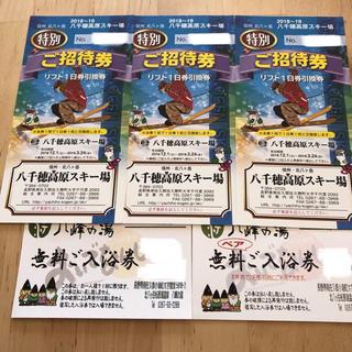 八千穂高原スキー場 リフト券3枚+八峰の湯 温泉券セット(スキー場)