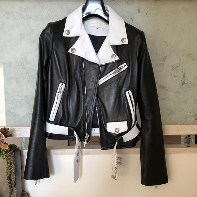 Chrome Hearts(クロムハーツ)のクロムハーツ×コムデギャルソンコラボ ライダースジャケット レディースのジャケット/アウター(ライダースジャケット)の商品写真