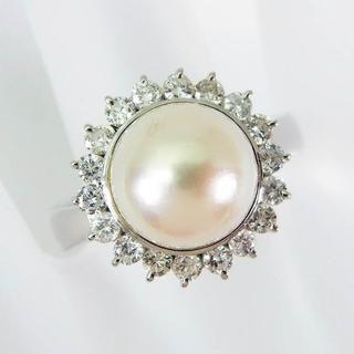 Pt900 天然アコヤ真珠ダイヤモンド リング 14号[f342-2](リング(指輪))