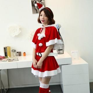 【クリスマス】猫耳フードプーケ付き サンタクロース コスプレ コスチューム 衣装(衣装)