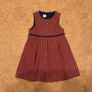 familiar - ファミリア チェック柄ワンピース ジャンパースカート 100