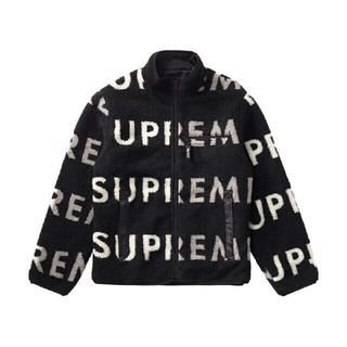 シュプリーム(Supreme)のsupreme Reversible Logo Fleece Jacket 黒M(ブルゾン)