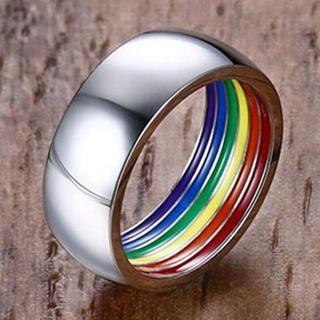 多様性の表現 シークレットレインボー 虹色 ステンレス リング 14号(リング(指輪))