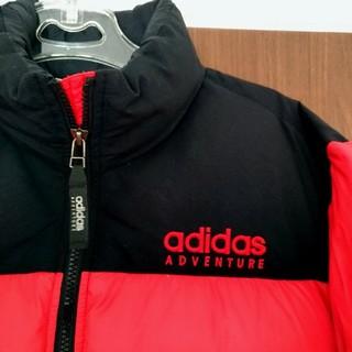 アディダス(adidas)のアディダス ダウン ジャケット アウトドア M レッド ブラック 男女兼用 古着(ダウンジャケット)