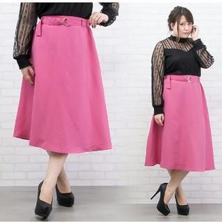 クレット(clette)の【3L】ピンクのフレアスカート(ひざ丈スカート)