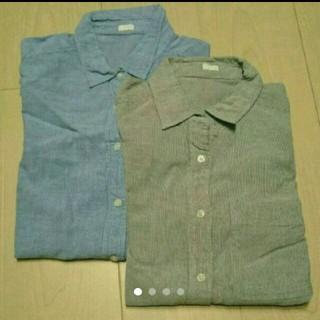 ジーユー(GU)のストライプシャツ 2枚セット(シャツ/ブラウス(長袖/七分))