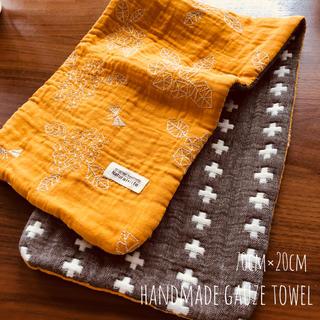 刺繍ガーゼとクロス柄の8重ガーゼタオル 厚手(外出用品)