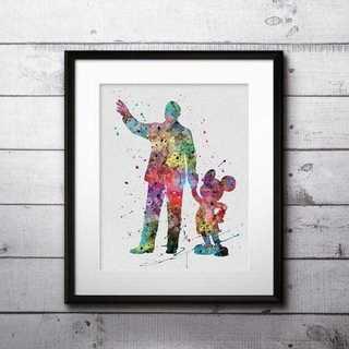 ウォルトディズニー&ミッキーマウス(ディズニーランド)アートポスター