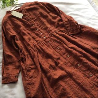 ネストローブ(nest Robe)のnest robe*ネストローブ*前後着ギャザーワンピース*明るめブラウン(ロングワンピース/マキシワンピース)