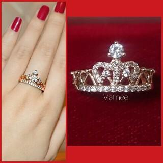 新品 16号 上質 CZ ダイヤモンド クラウンリング 指輪 K18コーティング(リング(指輪))