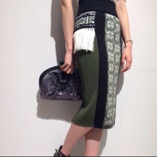 マメ(mame)のmame 2015aw フリンジモヘヤニットスカート サイズ1(ロングスカート)