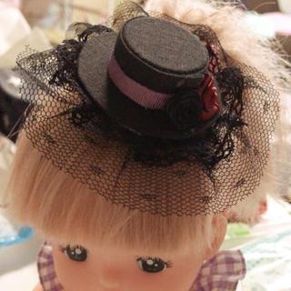 黒に薔薇レースがゴスロリで可愛い後ろが選べるミニハットブライスドレスに(ヘアアクセサリー)