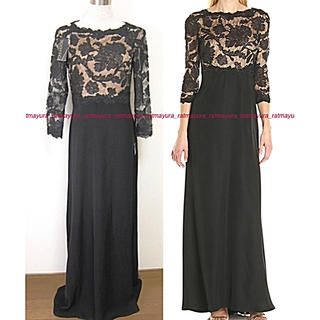 TADASHI SHOJI - TADASHI SHOJI花刺繍レースXクレープスカート*ロングドレス黒ヌード4