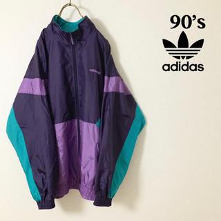 アディダス(adidas)の【美品】90's adidas 銀タグ レビビッドカラー ナイロンジャケット(ナイロンジャケット)
