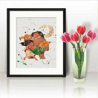 ディズニー(Disney)のモアナ&マウイ(モアナと伝説の海)アートポスター【額縁つき・送料無料!】(ポスター)