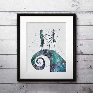ディズニー(Disney)のジャック&サリー(ナイトメアビフォアクリスマス)アートポスター【額縁付き!】(ポスター)