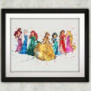 ディズニー(Disney)の日本未発売!ディズニープリンセス?・アートポスター【額縁つき・送料無料!】(ポスター)
