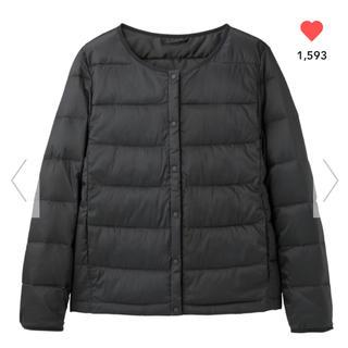 ジーユー(GU)のGU  中綿 ノーカラー ブルゾン XL ブラック 大型店限定(ブルゾン)