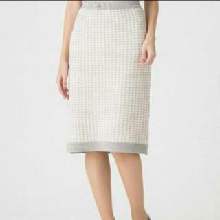 アツロウタヤマ(ATSURO TAYAMA)のニットチェックタイトスカート グレーホワイト(ひざ丈スカート)