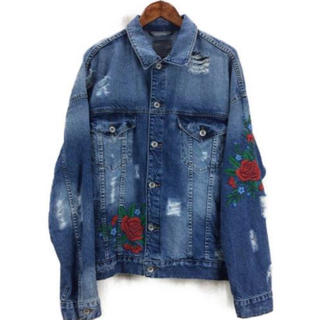 ZARA - 完売品ZARA MAN薔薇 刺繍オーバーサイズデニムジャケット Gジャン
