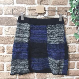 キャメロンレイシー(Cameron Racy)のブロックチェック ニットスカート(ミニスカート)