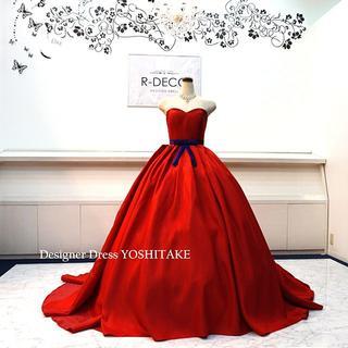 ウエディングドレス(無料パニエ) 赤サテンプリンセスドレス 披露宴/二次会(ウェディングドレス)