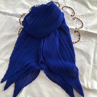 プリーツプリーズイッセイミヤケ(PLEATS PLEASE ISSEY MIYAKE)のPLEATS PLEASE ブルーのストール 美品🎶(ストール/パシュミナ)