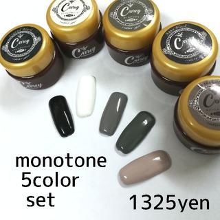 ◆モノトーン調カラーをチョイス◆ツヤツヤジェル5色セット カラージェル(カラージェル)