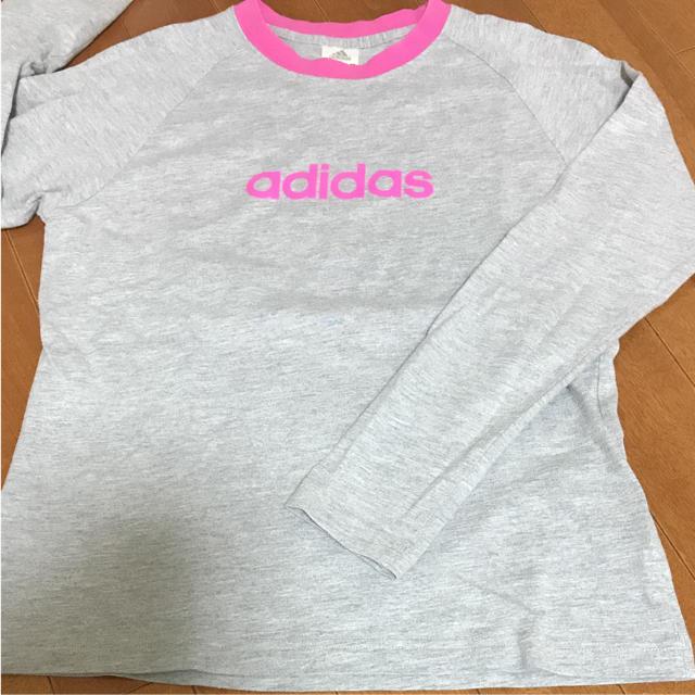adidas(アディダス)のアディダス グレー ピンク 長袖Tシャツ レディースのトップス(Tシャツ(長袖/七分))の商品写真