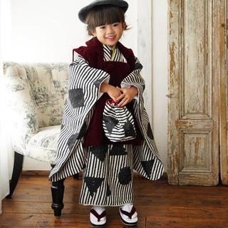 【美品】七五三 3歳着物 ベルベット被布 9点セット(和服/着物)