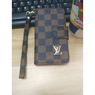ルイヴィトン(LOUIS VUITTON)のLouis Vuitton 手帳型 iPhone7/8格子縞のレザー電話ケース(iPhoneケース)