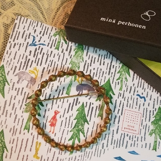 mina perhonen - ミナペルホネン tambourine ブローチ アンティークゴールド  新品