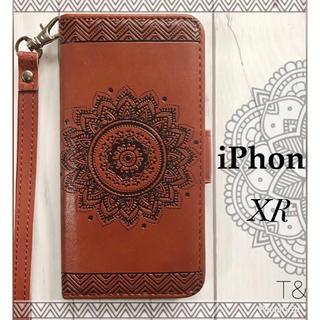 iPhoneXR 手帳型ケース ネイティブ エンボス型押し フィルム  ブラウン(iPhoneケース)