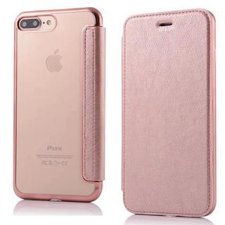 iPhone7 iPhone8 ローズゴールド 背面 クリア 手帳型ケース(iPhoneケース)