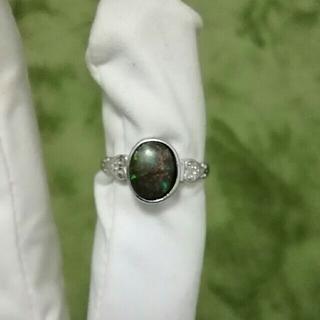レア 純銀製アンモライトリング 15号(リング(指輪))